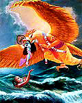 KRSNA DELIVERS HIS DEVOTEE FROM THE OCEAN OF BIRTH AND DEATH